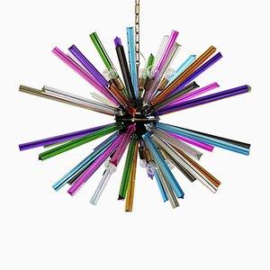 Murano Glass Sputnik Chandelier with Multicolored Prisms, 1983