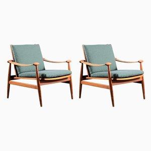 Mid-Century Spade Lounge Chairs by Finn Juhl for France & Søn / France & Daverkosen, Set of 2