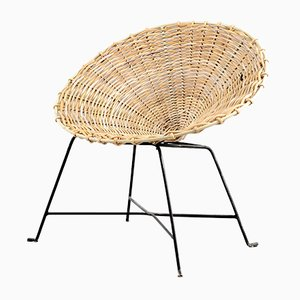 Mid-Century Rattan Lounge Chair, 1960s