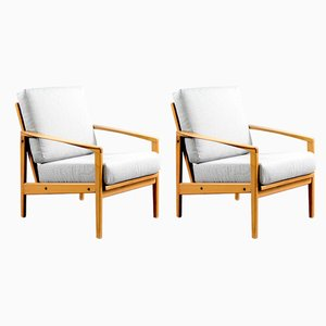 Mid-Century German Buche Lounge Chairs from Walter Knoll / Wilhelm Knoll, 1960s, Set of 2