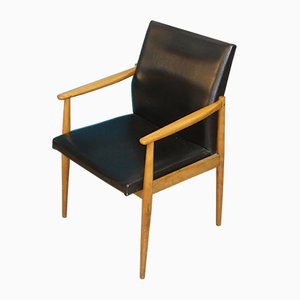 Mid-Century Balck Skai Desk Chair, 1950s