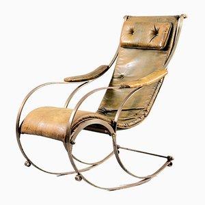 Sedia a dondolo antica in metallo e pelle di Peter, Cooper per RW Winfried