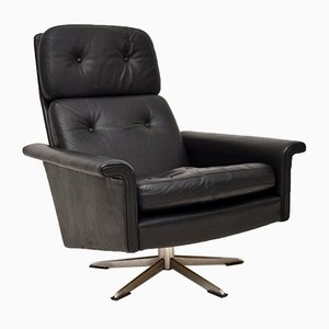Danish Leather Swivel Armchair by Johannes Andersen, 1960s