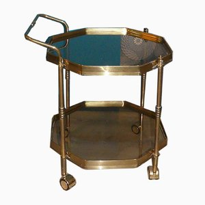 Mid-Century Brass and Glass Serving Bar Cart, 1960s