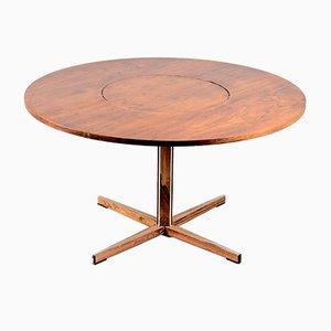 Runder Mid-Century Palisander Esstisch mit Drehbarer Tischplatte