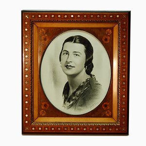 Rosewood Marquetry Inlay and Gilt Bronze Frame