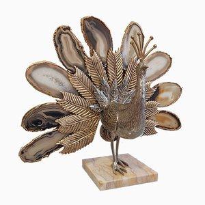 Vintage Agate Peacock Skulptur zugeschrieben Willy Daro