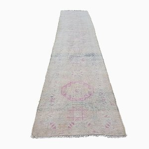 Turkish Distressed Low Pile Herki Runner Rug, 1970s