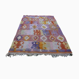 Vintage Turkish Pink Blue Kilim Rug, 1970s