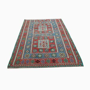 Vintage Turkish Blue and Red Kilim Rug, 1970s