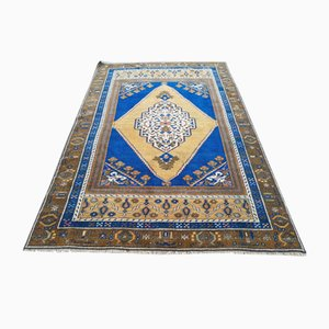Türkischer Vintage Taspinar Teppich in Gelb & Blau, 1970er