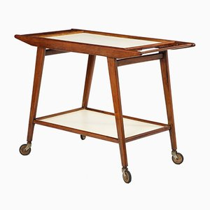 Mid-Century Brazilian Hardwood and Formica Tea Cart from OCA, 1950s