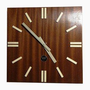 Horloge Tchèque Mid-Century en Bois de Pragotron, 1970s