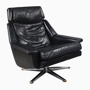 Danish Leather Swivel Lounge Chair by Werner Langenfeld for Esa Møbler, 1960s