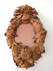 19th Century French Floral Leather Mirror