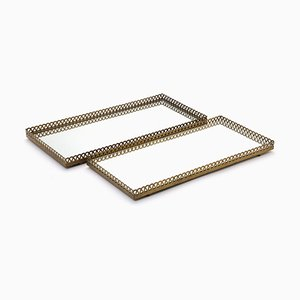 Swedish Brass Mirrored Trays, 1950s, Set of 2