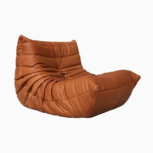 Cognac Leather Togo Lounge Chair by Michel Ducaroy for Ligne Roset, 1990s