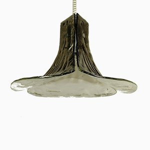 Vintage Glass Gingko Leaf Pendant Lamp from Kalmar Franken KG, 1960s