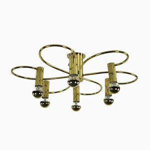 Vintage Brass Flush Mount Ceiling Lamp from Cosack, 1960s