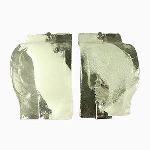 Vintage Ice Glass Sconces from Kalmar, 1960s, Set of 2