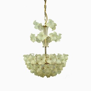 Vintage Italan Glass Blossom Pendant Lamp, 1970s