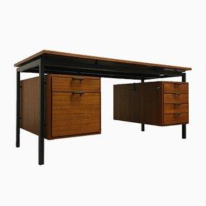 Bauhaus Teak and Black Steel Desk by Herbert Hirche for Christian Holzäpfel KG, 1950s
