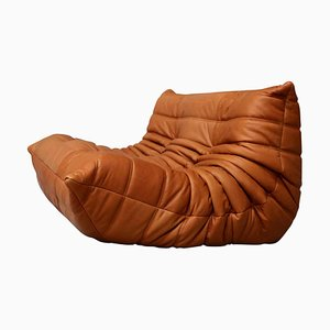 Cognac Leather Togo Loveseat Chair by Michel Ducaroy for Ligne Roset, 1998