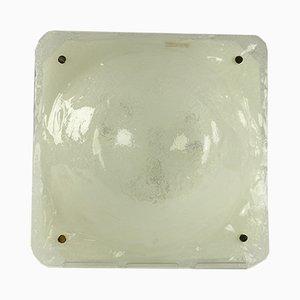 Viereckige Vintage Deckenlampe aus Eisglas von Müller & Zimmer, 1960er