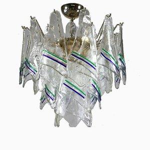 Mundgeblasene Vintage Murano Glas Hängelampe von Mazzega, 1960er