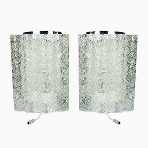 Röhrenförmige Vintage Glas und Chrom Wandleuchten von Doria, 1960er, 2er Set