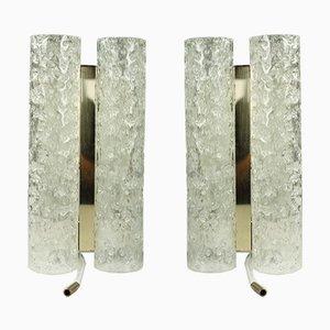 Röhrenförmige Vintage Glas und Messing Wandlampen von Doria Leuchten, 1960er, 2er Set
