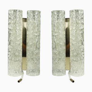 Vintage Tubular Glass and Brass Sconces from Doria Leuchten, 1960s, Set of 2