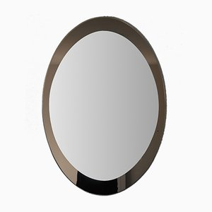 Large Italian Oval Two-Tone Glass Mirror in the Style of Fontana Arte, 1960s
