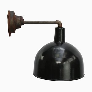 Vintage Industrial Black Enamel and Cast Iron Sconce