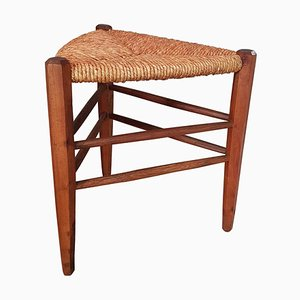 French Triangular Wicker Stool, 1960s