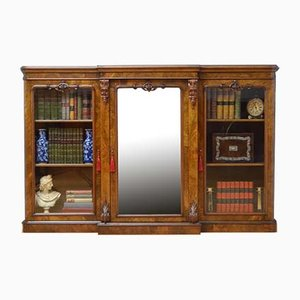 Victorian Walnut Breakfronted Bookcase