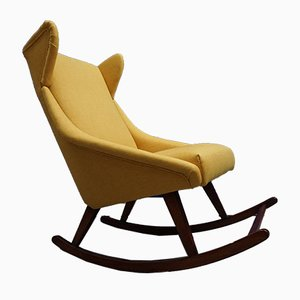 Rocking Chair Mid-Century en Tissu et Bois, Danemark, 1960s