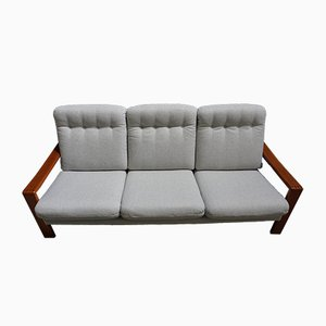 Scandinavian Modern Teak and Tweed 3-Seater Sofa, 1970s