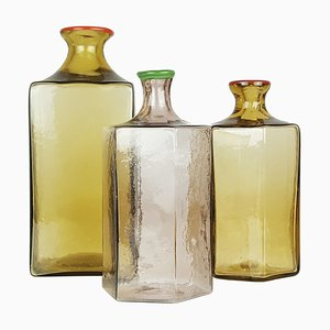 Multicolored Murano Glass Bottles from Venini, 1980s, Set of 3