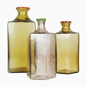 Multicolored Murano Glass Bottles from Venini, 1980s, Set of 3