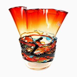 Jarrón de cristal de Murano soplado en rojo de Made Murano