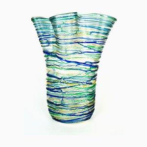 Jarrón de mar verde de cristal de Murano soplado de Murano