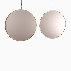 Italian Round Brass and Burnished Glass Mirrors by Gio Ponti, 1960s, Set of 2