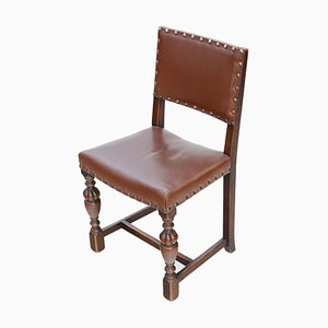 Jacobean Revival Oak and Leather Dining Chairs, 1920s, Set of 4