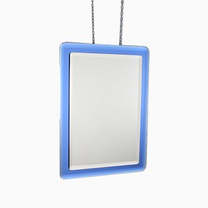 Italian Rectangular Blue Glass Mirror from Fontana Arte, 1960s