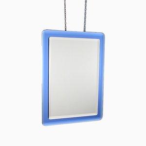 Italienischer Rechteckiger Blauer Glasspiegel von Fontana Arte, 1960er