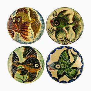 Spanische Wandteller aus Keramik mit Fisch Dekor von Puigdemont, 1950er, 4er Set