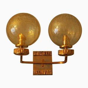 Vintage Messing & Glas Wandlampe mit Gold von Angelo Brotto für Isperia, 1970er