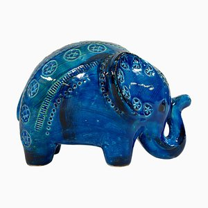 Large Ceramic Rimini Blu Series Elephant Sculpture by Aldo Londi for Bitossi, 1950s