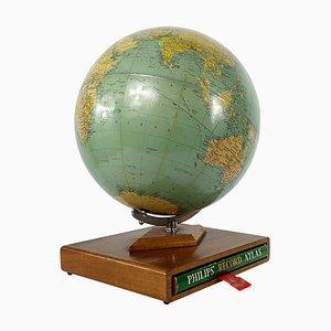 Mid-Century Globus aus Mahagoni mit Schallplattenatlas von Philips, 1961